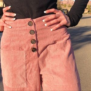 Pale Pink Button Fly Corduroy Flare Pants